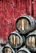 Wine Vineyard Photos - Wine Barrels by Doug Hockman Photography