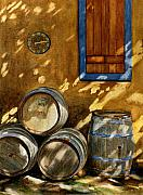 Wineries Paintings - Wine Barrels by Karen Fleschler