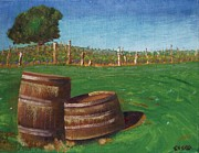 Vintner Paintings - Wine Barrels by Robert Sesco