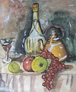 Wine Bottle Paintings - Wine Bottle 1 by Clarence Butch Martin