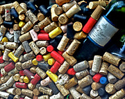 Wine Making Posters - Wine Bottle and Corks Poster by Philip Sweeck