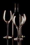 Monochrome Framed Prints - Wine Bottle and Wineglasses Silhouette II Framed Print by Tom Mc Nemar