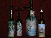 Food And Beverage Glass Art Originals - Wine Bottle Crafts by Kris Crollard
