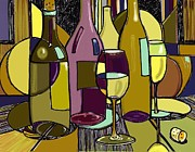 Wine Glasses Mixed Media Prints - Wine Bottle Deco Print by Peggy Wilson