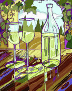 Grape Vines Prints - Wine Bottle in Window Print by Peggy Wilson