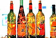 Wine Bottle Lights Print by Margaret Hood