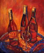 Wine-glass Posters - Wine Bottle Mosaic Poster by Peggy Wilson