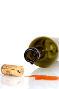 Cabernet Sauvignon Prints - Wine bottle on its side with cork Print by David Smith