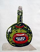 Screen Print Metal Prints - Wine Bottle Metal Print by Ron Bissett