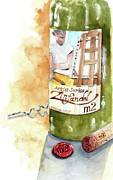 Original Watercolor Paintings - Wine Bottle Still Life- M2 Zinfandel by Sheryl Heatherly Hawkins