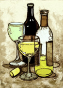 Wine Glasses Mixed Media Prints - Wine Bottles and Glasses Print by Peggy Wilson