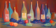 Italian Kitchen Paintings - Wine Bottles by Claudia