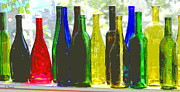 Red Wine Prints Framed Prints - Wine Bottles Framed Print by Diana  Tyson
