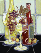 Wine Mixed Media Prints - Wine Bottles Grapes and Glasses Print by Peggy Wilson