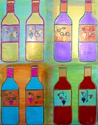 Wine Glasses Mixed Media Prints - Wine Bottles II Print by Char Swift