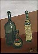 Wine Bottles Pastels - Wine Bottles by Naomi Kennedy