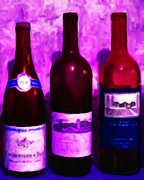 Grape Digital Art - Wine Bottles - Study 5 by Wingsdomain Art and Photography
