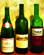 Grape Digital Art Metal Prints - Wine Bottles - Study 6 Metal Print by Wingsdomain Art and Photography