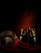Fruit And Wine Metal Prints - Wine Break Metal Print by Lourry Legarde