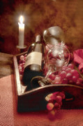 Red Wine Glass Photos - Wine by Candle Light II by Tom Mc Nemar