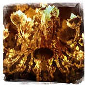 Wine Glasses Paintings - Wine Cave Chandelier I by Penelope Moore