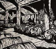 Linocut Drawings Originals - Wine Cellar by William Cauthern