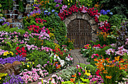 Colorful Flowers Posters - Wine celler gates  Poster by Garry Gay