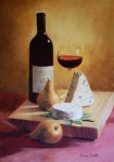 Food And Beverage Pastels - Wine Cheese and Boscs by Jeanne Rosier Smith