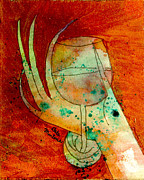 Wine Glass Paintings - Wine Class Golden by Debra Martens