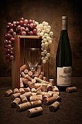 Wine Glass Posters - Wine Corks Still Life II Poster by Tom Mc Nemar