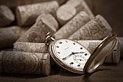 Pocket Watch Glass Acrylic Prints - Wine Corks Still Life VI Aged to Perfection Acrylic Print by Tom Mc Nemar