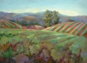 Grapes Paintings - Wine Country by Joan  Jones