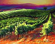 Vineyard Landscape Posters - Wine Country Poster by Mike Massengale