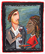 Wine Glasses Paintings - Wine couple by Ken Martin