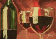 Wine Glasses Painting Originals - Wine by D Turner
