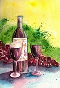 Wine Glasses Paintings - Wine for Two - 2 by Sharon Mick