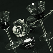Glass Table Prints - Wine For Two Print by Joana Kruse