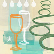 Cafe Prints - Wine For Two Print by Linda Woods