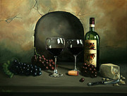 Red Wine Bottle Painting Posters - Wine For Two Poster by Paul Walsh