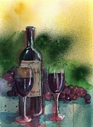 Red Wine Bottle Framed Prints - Wine for Two Framed Print by Sharon Mick