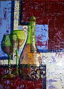 Wine Glasses Mixed Media Prints - Wine for Two Print by Terry Honstead