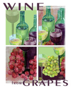 White Grape Paintings - Wine From Grapes Collage by Arline Wagner