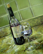 Wine Bottle Paintings - Wine Glass and Bottle by Arleana Holtzmann