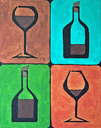 Wine Bottle Paintings - Wine Glass And Bottle by Brian Roberts