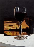 Daniel Montoya - Wine Glass and Postcard...