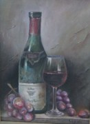 Wine Grapes Drawings Posters - Wine Glass Poster by Illa Vaghela