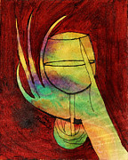 Wine Glass Paintings - Wine Glass Red by Debra Martens