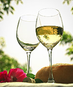 Greenery Photos - Wine glasses by Elena Elisseeva