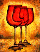 Wine Glass Paintings - Wine Glasses by Elizabeth Coats