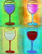Wine Bottle Mixed Media Framed Prints - Wine Glasses II Framed Print by Char Swift